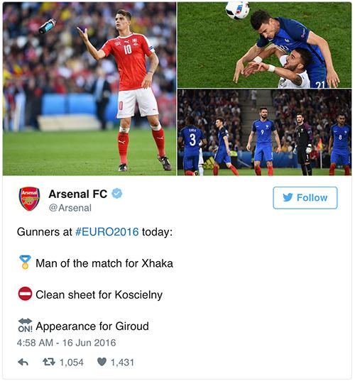 """Arsenal bị chế giễu vì khen Giroud """"được thi đấu"""""""