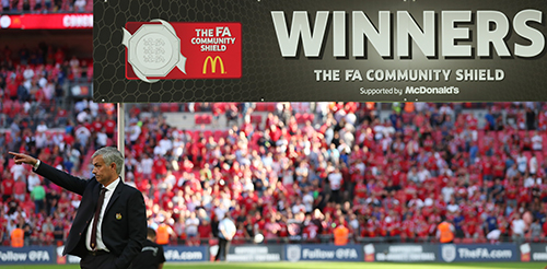 Mourinho tri ân Van Gaal khi Man Utd đoạt Siêu Cup Anh