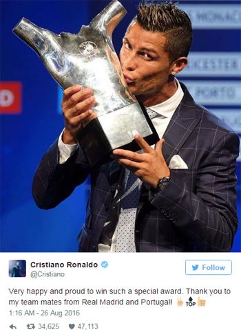 Ronaldo chọc Pique khi đoạt danh hiệu cầu thủ hay nhất châu Âu