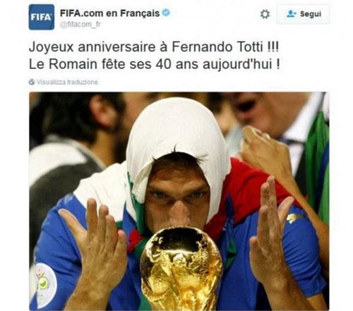 FIFA viết nhầm tên khi chúc mừng sinh nhật Totti