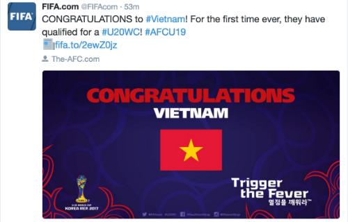 FIFA chúc mừng Việt Nam lần đầu dự U20 World Cup