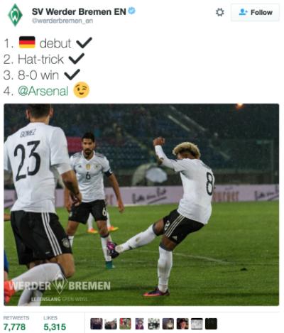 Arsenal bị chế diễu sau trận thắng đậm của tuyển Đức