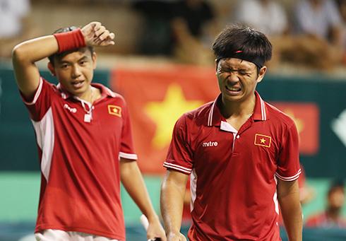 Hoàng Nam và Hoàng Thiên thất thủ, Việt Nam bất lợi ở Davis Cup