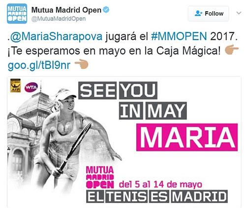 Sharapova được đặc cách tham dự Madrid Mở rộng