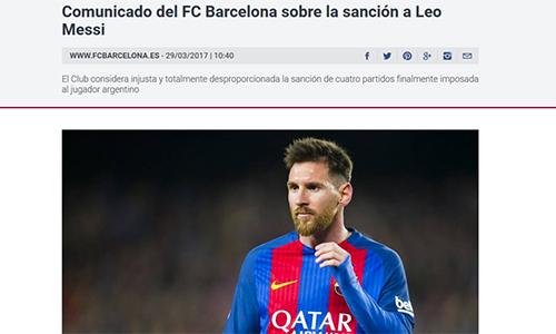 Barca phẫn nộ vì án phạt dành cho Messi
