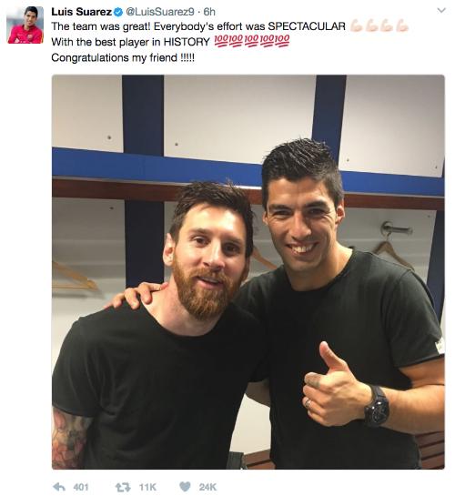 """Suarez: """"Messi là cầu thủ hay nhất lịch sử bóng đá"""""""