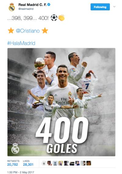 Real gây tranh cãi khi công nhận mốc 400 bàn của Ronaldo