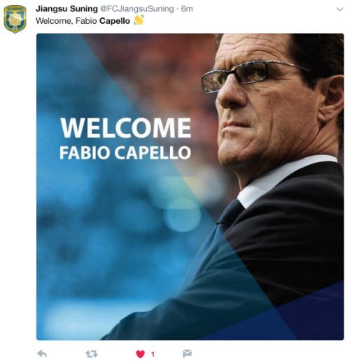 Capello gia nhập làng bóng đá Trung Quốc