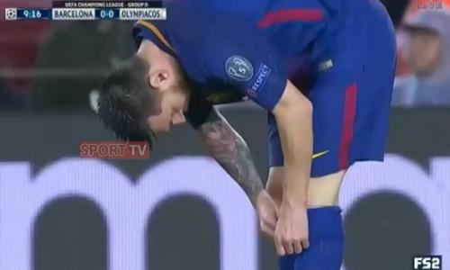 Messi uống thuốc giữa trận gặp Olympiakos