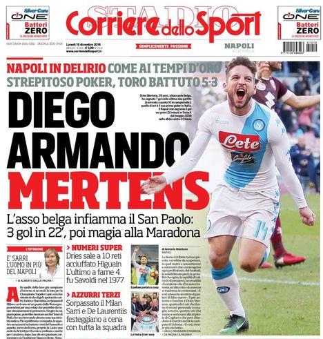 Mertens ngượng khi được so sánh với Diego Maradona huyền thoại.