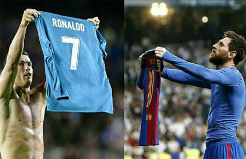 Ronaldo trượt dốc sau khi bắt chước màn phơi áo của Messi