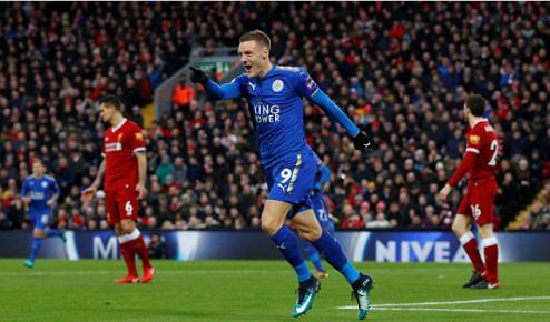 Vardy lần thứ bảy làm tung lưới Liverpool trong sự nghiệp. Ảnh: Reuters.