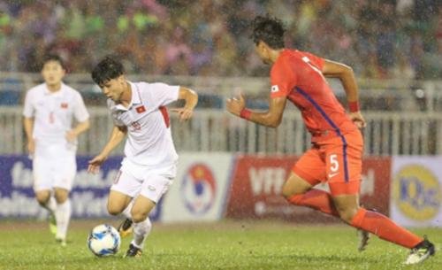 Tại vòng loại, Công Phượng và các đồng đội thua U22 Hàn Quốc 1-2 tại Thống Nhất. Ảnh: Đức Đồng