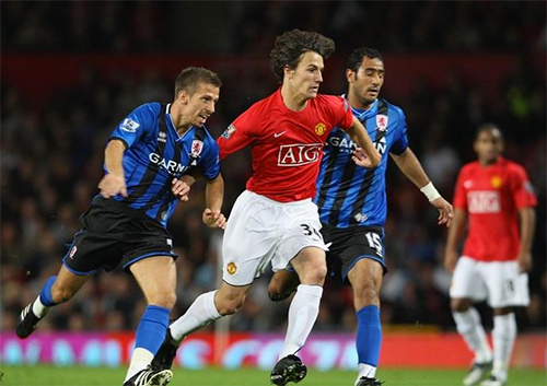 Possebon trong màu áo Man Utd. Ảnh: PA.