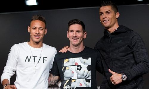 Ronaldo bị Neymar và Messi bỏ xa về giá trị. Ảnh: AFP.