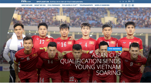 Bài viết về tuyển Việt Nam trên trang chủ FIFA.