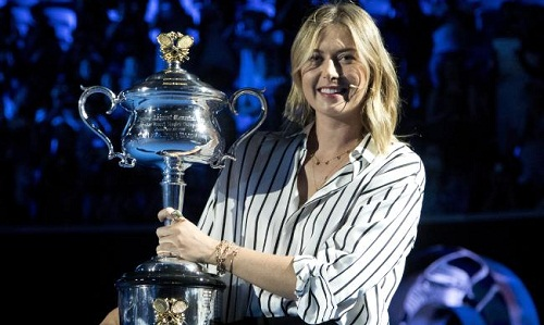 Sharapova tại lễ bốc thăm Australia Mở rộng 2018. Ảnh: Herald Sun.