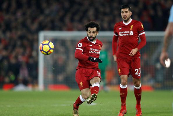 Salah ghi bàn thắng thứ 18 ở Ngoại hạng Anh mùa này. Ảnh: Reuters.