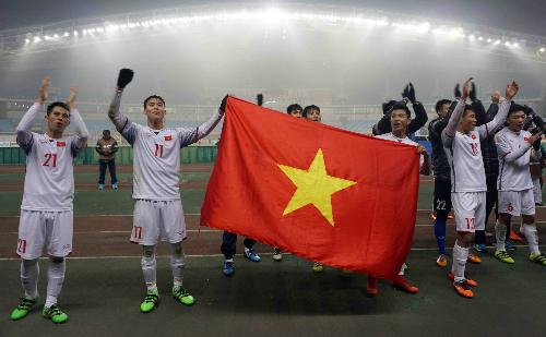 Việt Nam lần đầu vào tứ kết U23 châu Á. Ảnh: Anh Khoa.