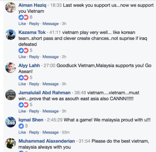 Những bình luận ủng hộ Việt Nam từ người hâm mộ Malaysia. Ảnh: Fox Sports.