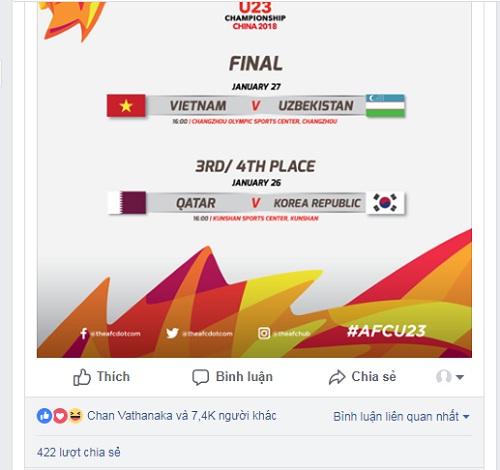 Vathanaka quan tâm đến bài đăng về lịch thi đấu trận chung kết của Việt Nam...
