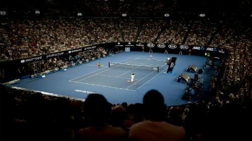 Trận đấu giằng co trong bốn set đầu. Ảnh: Tennis Australia.