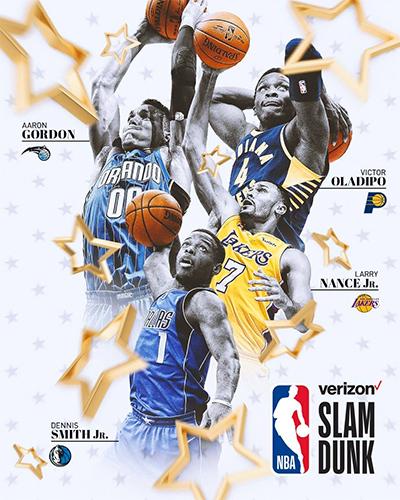 Aaron Gordon và ba cầu thủ khác tham dự tranh tài ở cuộc thi úp rổ. Ảnh: NBA.