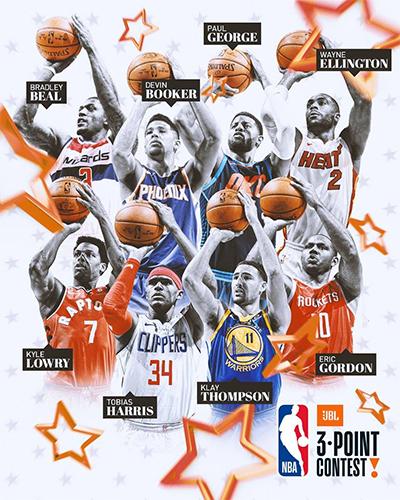 Tám ngôi sao sẽ tham dự tranh tài ở cuộc thi ném ba điểm. Ảnh: NBA.