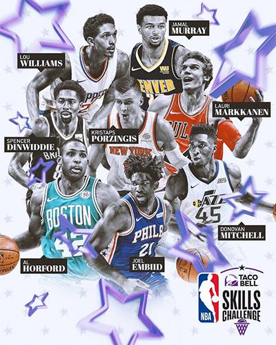 Những ngôi sao tham dự phần thi kỹ năng ở All-Star 2018. Ảnh: NBA.
