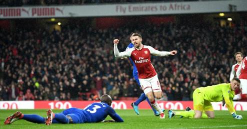 Ramsey lập hat-trick đầu tiên trong sự nghiệp. Ảnh: AFP.
