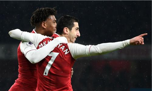 Mkhitaryan có màn trình diễn tuyệt vời như chơi cho Arsenal từ lâu. Ảnh: AFP.