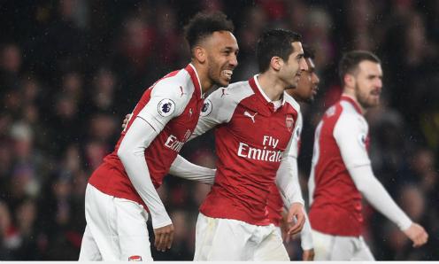 Aubameyang và Mkhitaryan chung vui trong màu áo mới. Ảnh: Sky Sports.