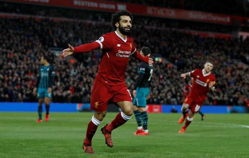 Salah đã ghi bảy bàn vào lưới các đội top 6 tại Ngoại hạng Anh mùa này. Ảnh: Reuters.