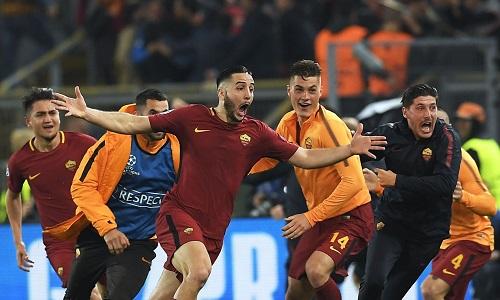 Manolas với bàn thắng để đời, giúp Roma hạ nốc ao Barca. Ảnh: AFP.