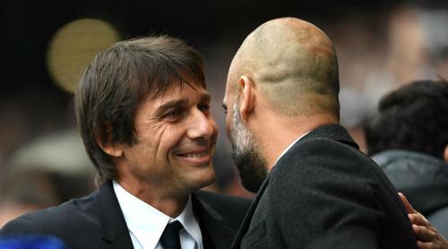 Conte dành sự ngưỡng mộ cho Guardiola và những gì Man City làm bên ngoài sân cỏ. Ảnh: AFP.