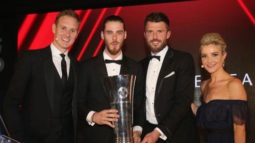 De Gea trong đêm gala trao giải của Man Utd. Ảnh: PA.