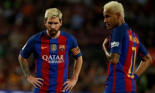 Messi và Neymar khi còn sát cánh cùng nhau ở Barca. Ảnh: Reuters.