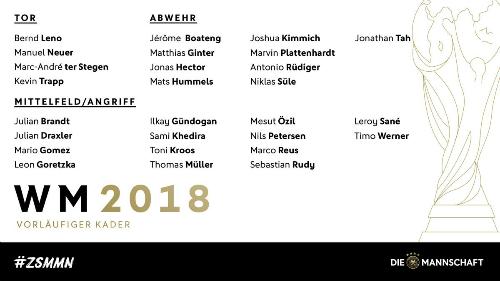 Danh sách sơ bộ 27 tuyển thủ Đức.