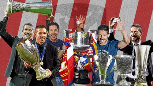 Sáu chiếc Cup mà Simeone đem về cho bảo tàng của Atletico.