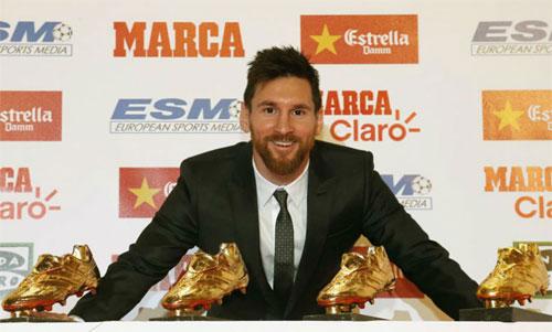 Messi lập kỷ lục khi giành Giày vàng châu Âu lần thứ năm