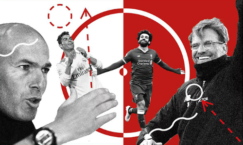 Zidane và Klopp cùng hướng đến thứ bóng đá tấn công, nhưng theo những phong cách hoàn toàn đối lập. Ảnh: Telegraph.