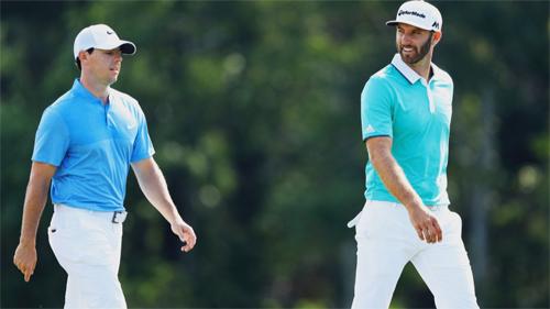 Johnson (phải) và McIlroy được các nhà cái đánh giá cao cơ hội vô địch US Open tuần này. Ảnh: Golf Channel.