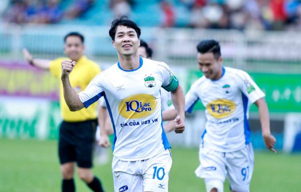 Công Phượng ghi bàn thắng thứ năm tại V-League 2018. Ảnh: Hùng Linh.