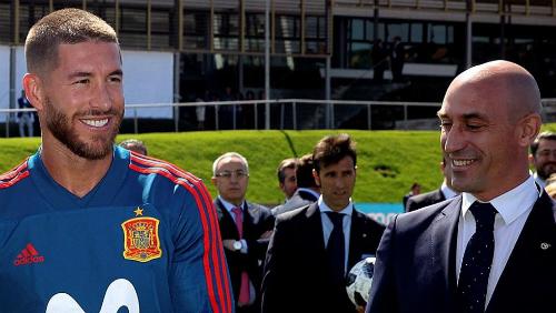 Ramos (trái) suýt ẩu đả với Rubiales (phải). Ảnh: EFE.