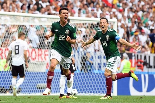 Lozano (số 22) ghi bàn duy nhất giúp Mexico hạ gục Đức. Ảnh:AFP.