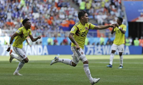 Colombia đã chơi cầu toàn sau bàn thắng của Quintero. Ảnh:FIFA.