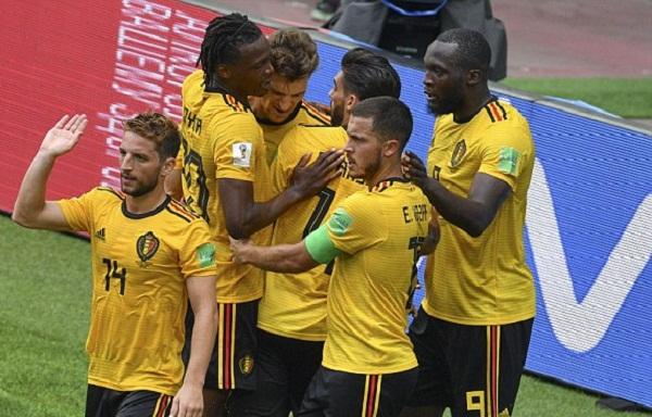 Các ngôi sao tấn công của tuyển Bỉ phô diễn tài năng, giúp đội nhà thắng giòn giã. Ảnh: Reuters.