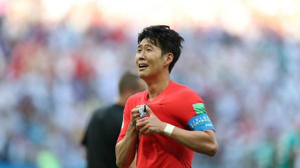 Son Heung-min rơi lệ sau bàn thắng ấn định tỷ số 2-0. Ảnh:FIFA.