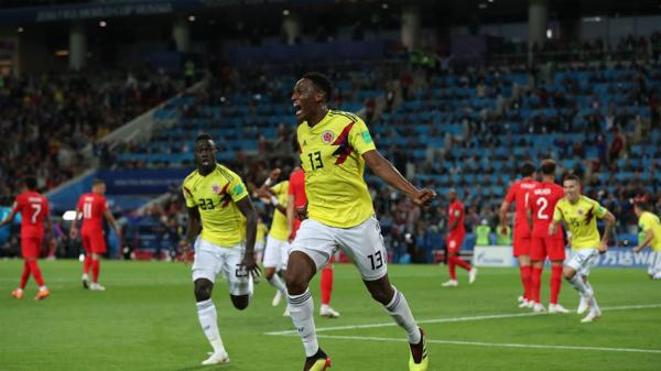 Bàn thắng của Yerry Mina mang tới hy vọng cho Colombia. Ảnh:FIFA.