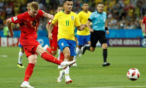 De Bruyne ghi bàn thứ hai mang tính quyết định vào lưới Brazil. Ảnh: Reuters
